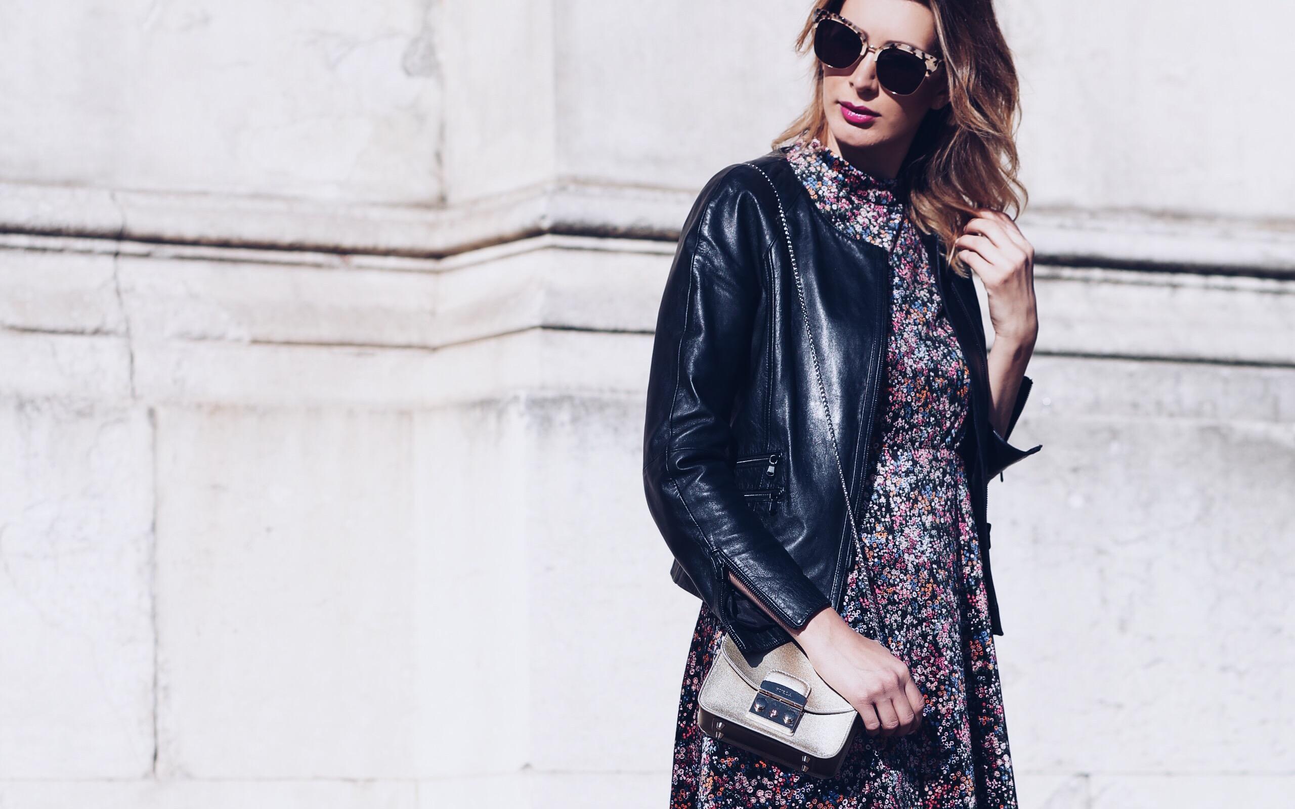OUTFIT   velvet loves leather: Samtkleid und Lederjacke