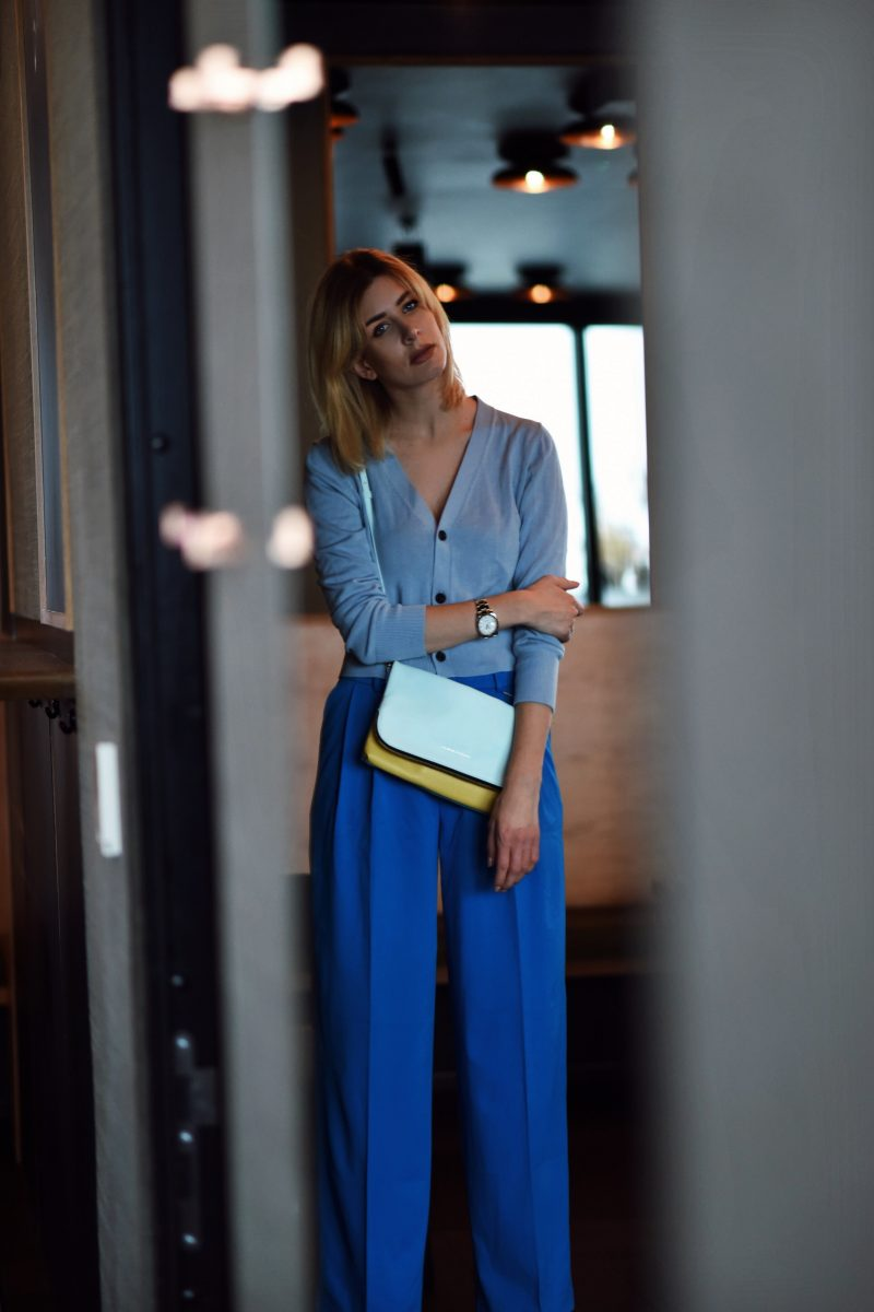 all-blue look