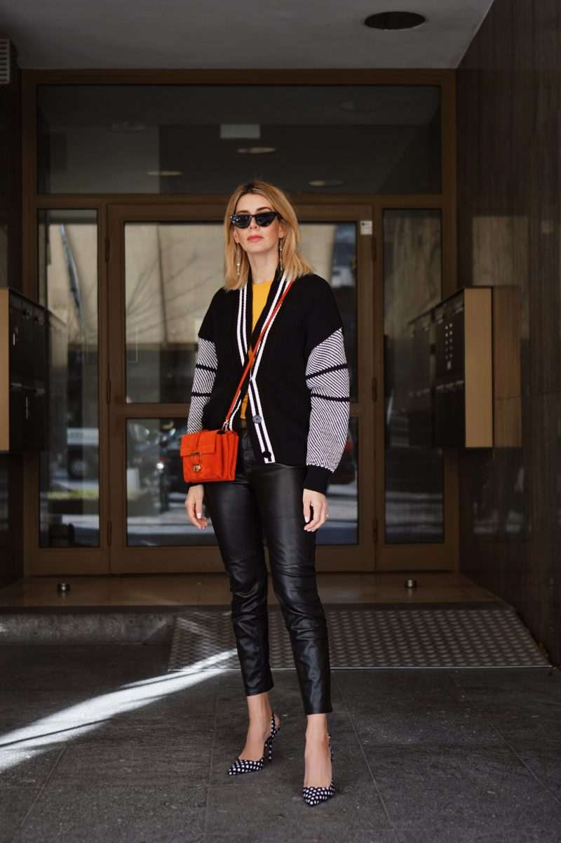 Leather Pants College Cardigan And Coccinelle Arlettis Bag