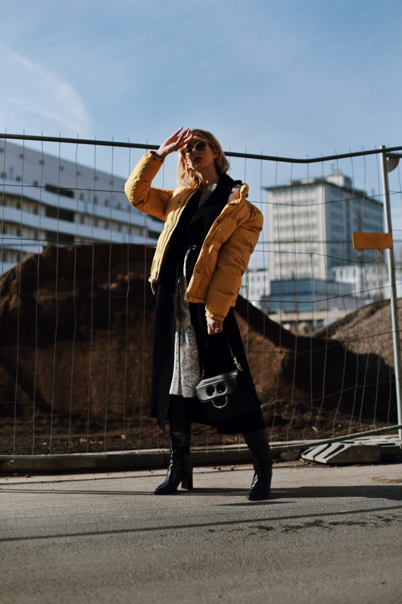 Max Mara midi dress, down jacket and JW Anderson Pierce Bag