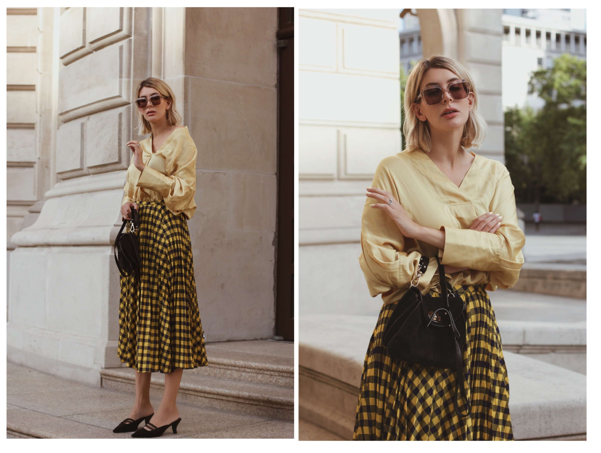 yellow checked skirt and yellow satin blouse