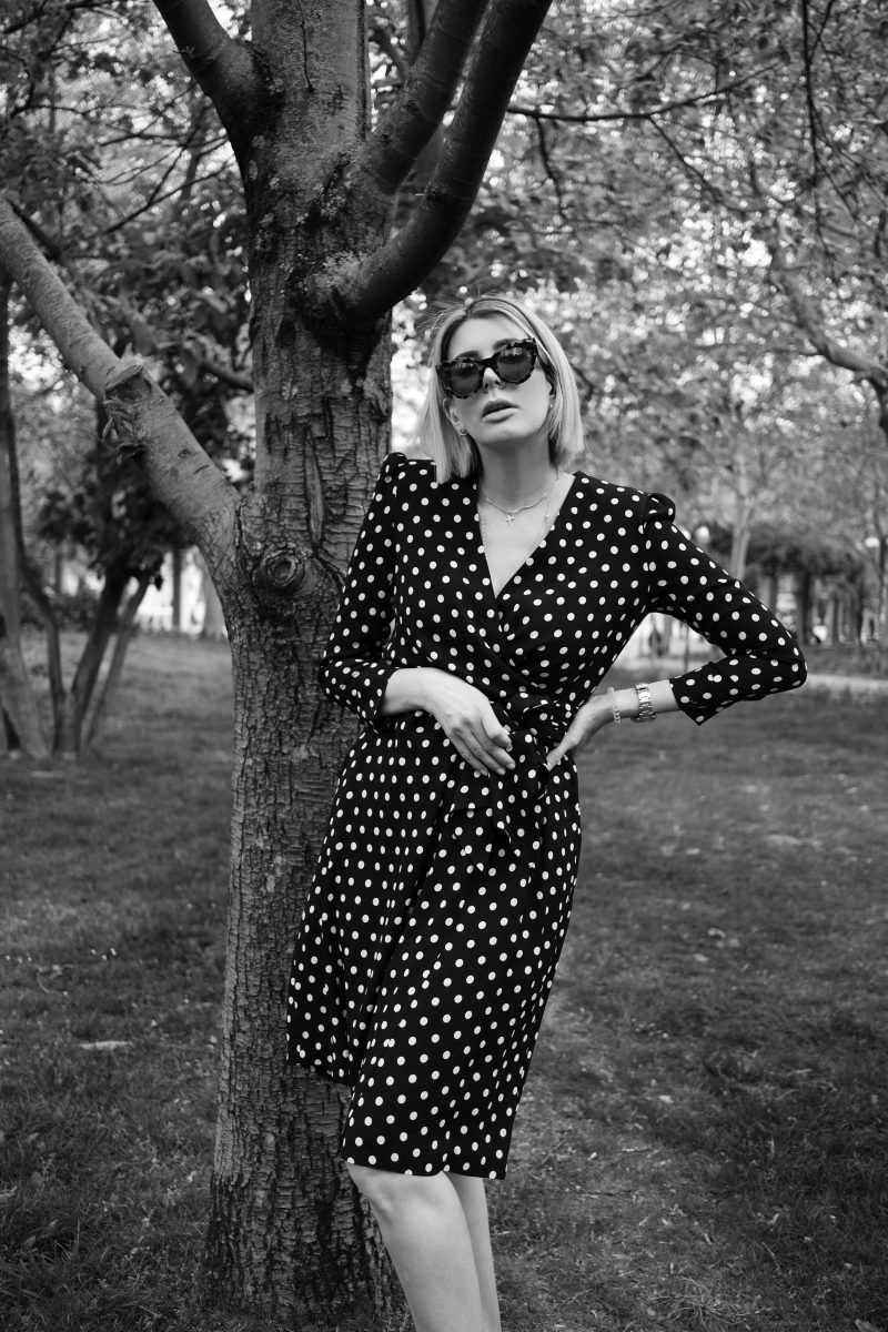a walk in the park – Celine Polka Dot dress